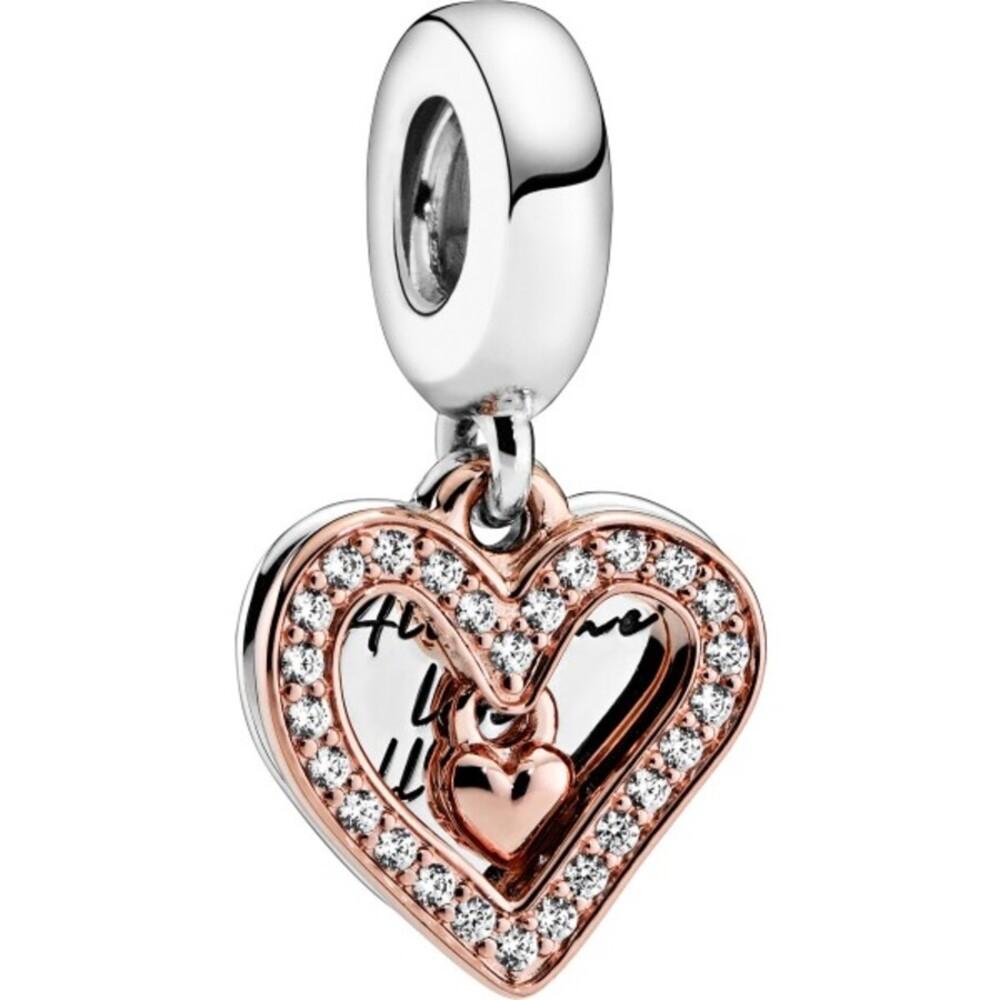Pandora Charm Anhänger 788693C01 Rose Sparkling Freehand Heart klare Zirkonia