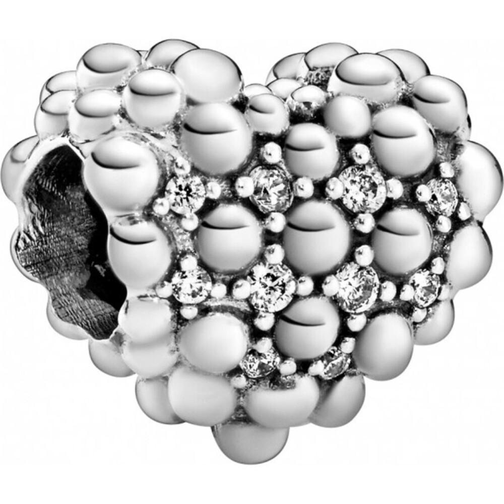 Pandora Charm Beaded Sparkling Heart Herz Kugeldesign Silber 925