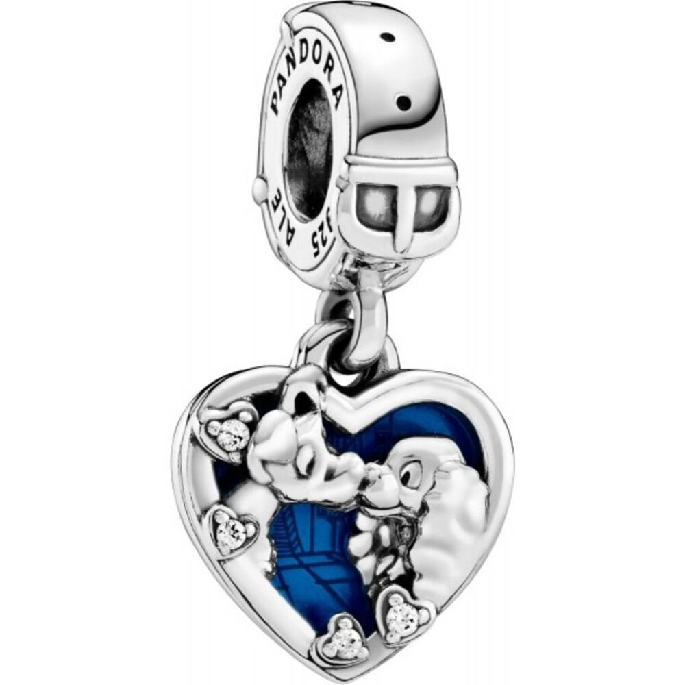 Pandora Disney 798634C01 Lady and the Tramp Susi und Strolch Charm Anhänger Silber 925 blaue Emaille