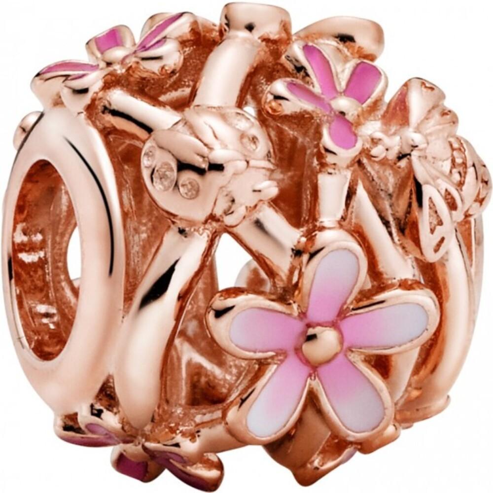 Pandora Garden Charm 788772C01 Openwork Pink Daisy Flower Rose Pink Emaille