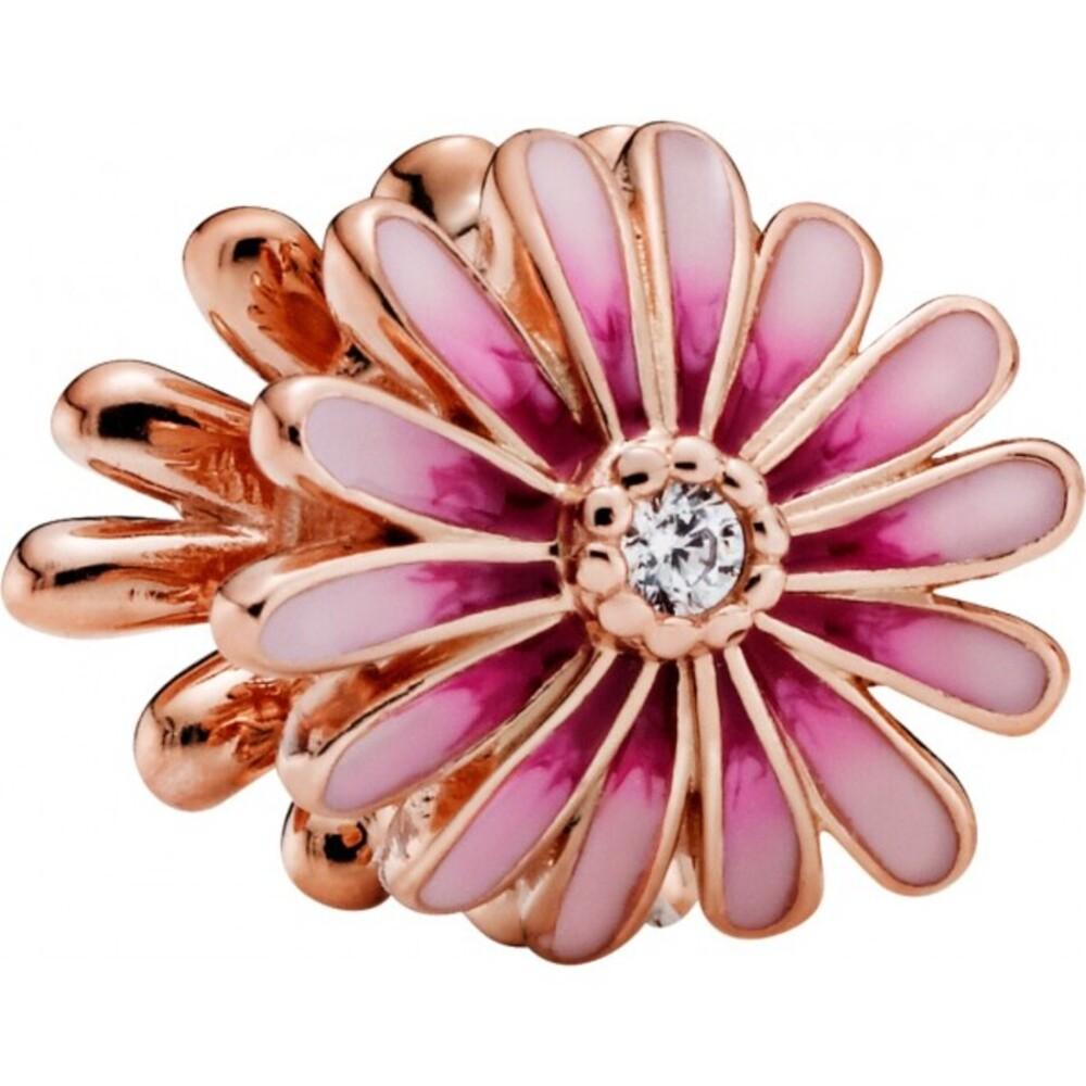 Pandora Garden Charm 788775C01 Pink Daisy Flower Rose Klare Zirkonia Pink Emaille