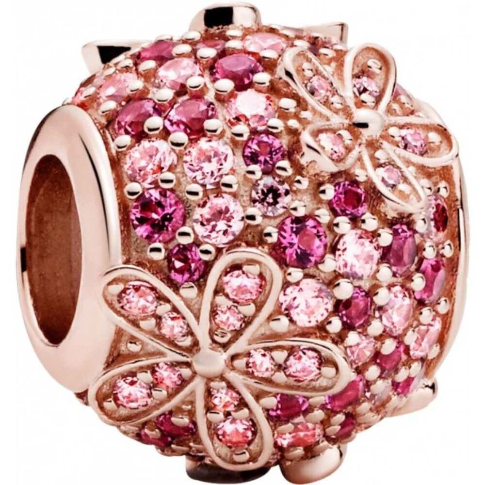 Pandora Garden Charm 788797C01 Pink Pave Daisy Flower Rose Pink Kirschrot Kristall