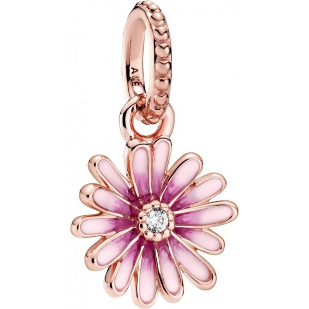 Pandora Garden Charm Anhänger 788771C01 Pink Daisy Flower Rose Klare Zirkonia Pink Emaille