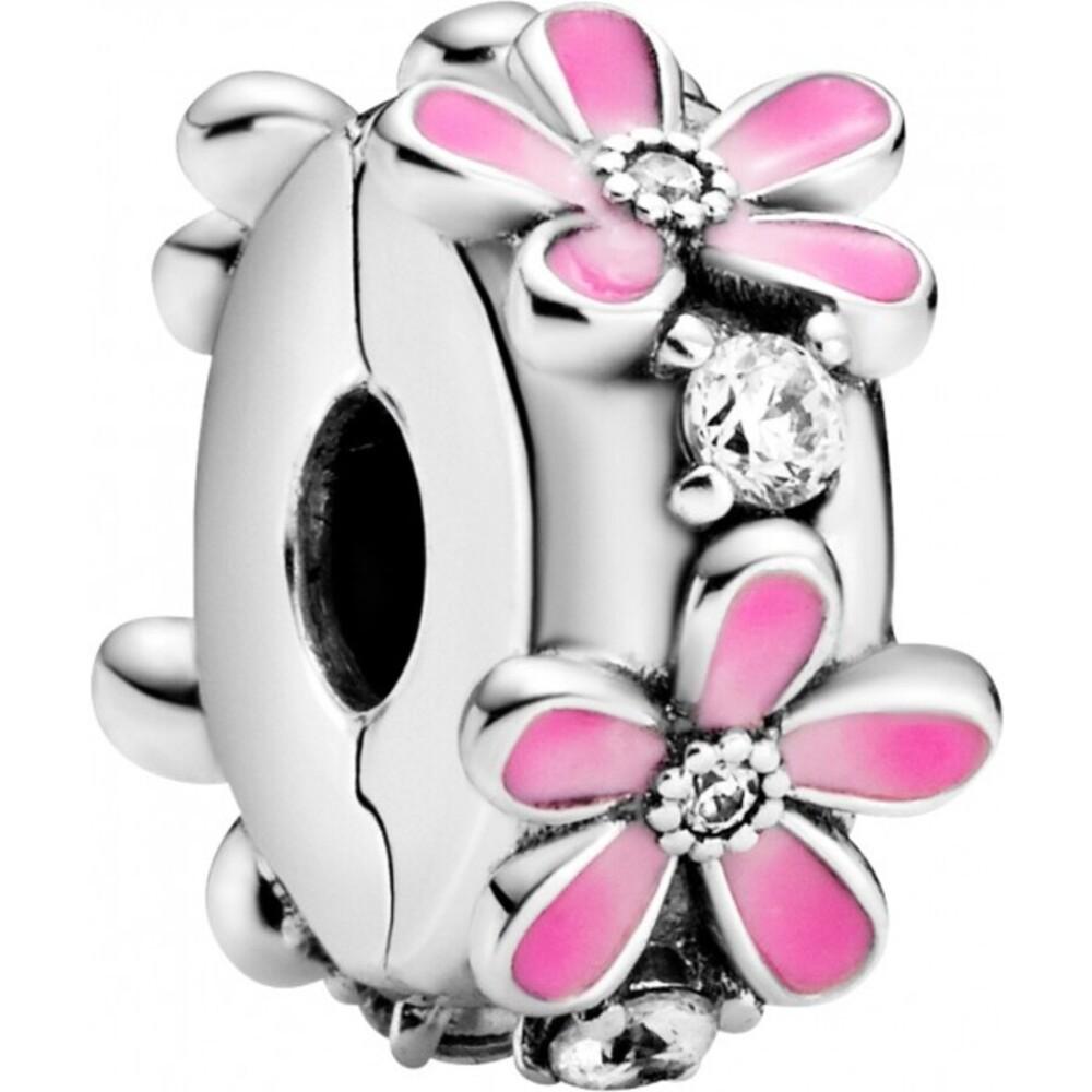 Pandora Garden Clip Charm 798809C01 Pink Daisy Flower Silber 925 Klare Zirkonia Pink Emaille Silikoneinlage