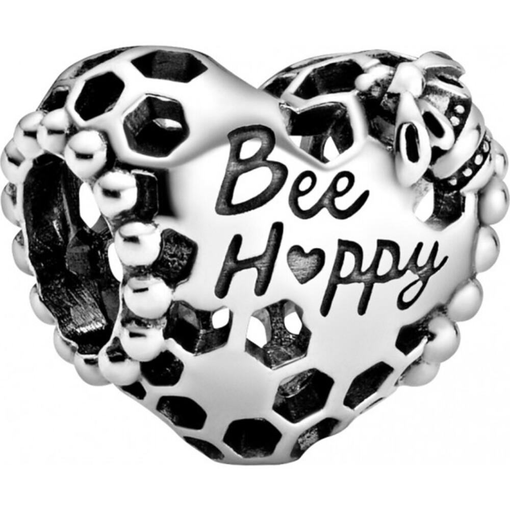 Pandora Garden Charm 798769C00 Bee Happy Honeycomb Silber 925
