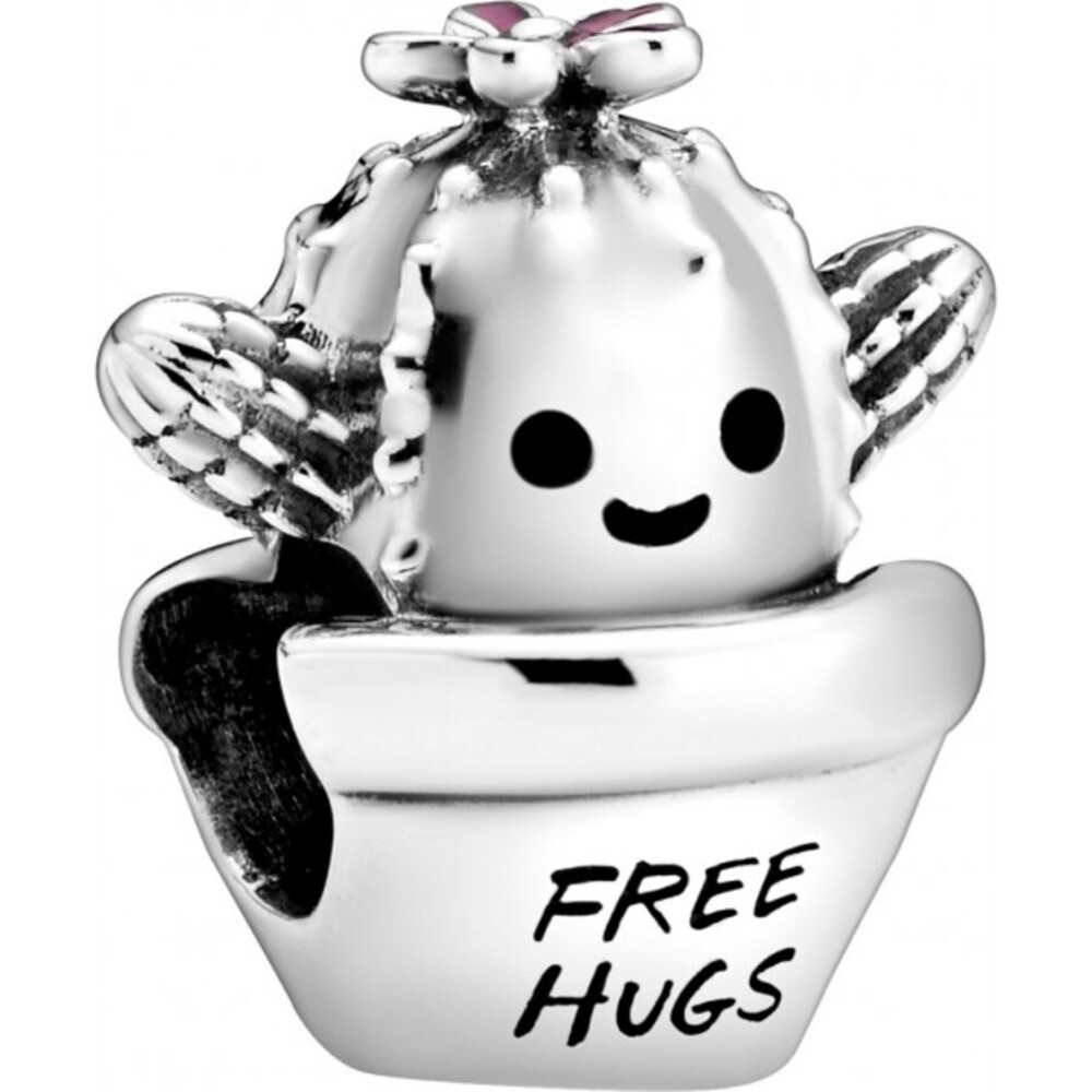 Pandora Passions Charm 798786C01 Free Hugs Cactus Silber 925 Schwarz Pink Emaille