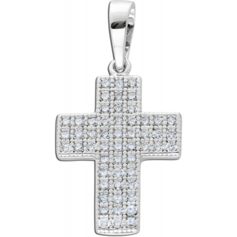 Kreuz Anhänger weißen Zirkonia Steinen Silber 925 Damenschmuck