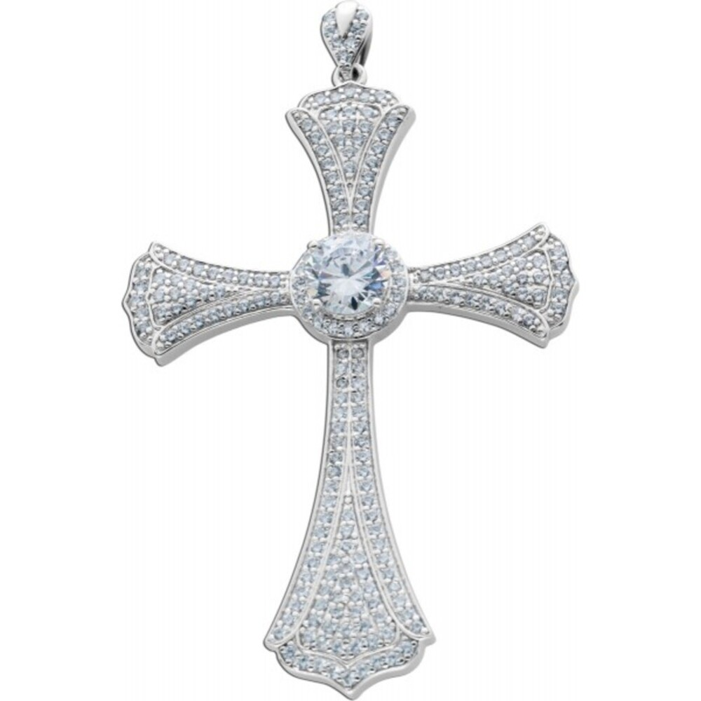 Rapper Kreuz  Anhänger weißen Zirkonia Silber 925