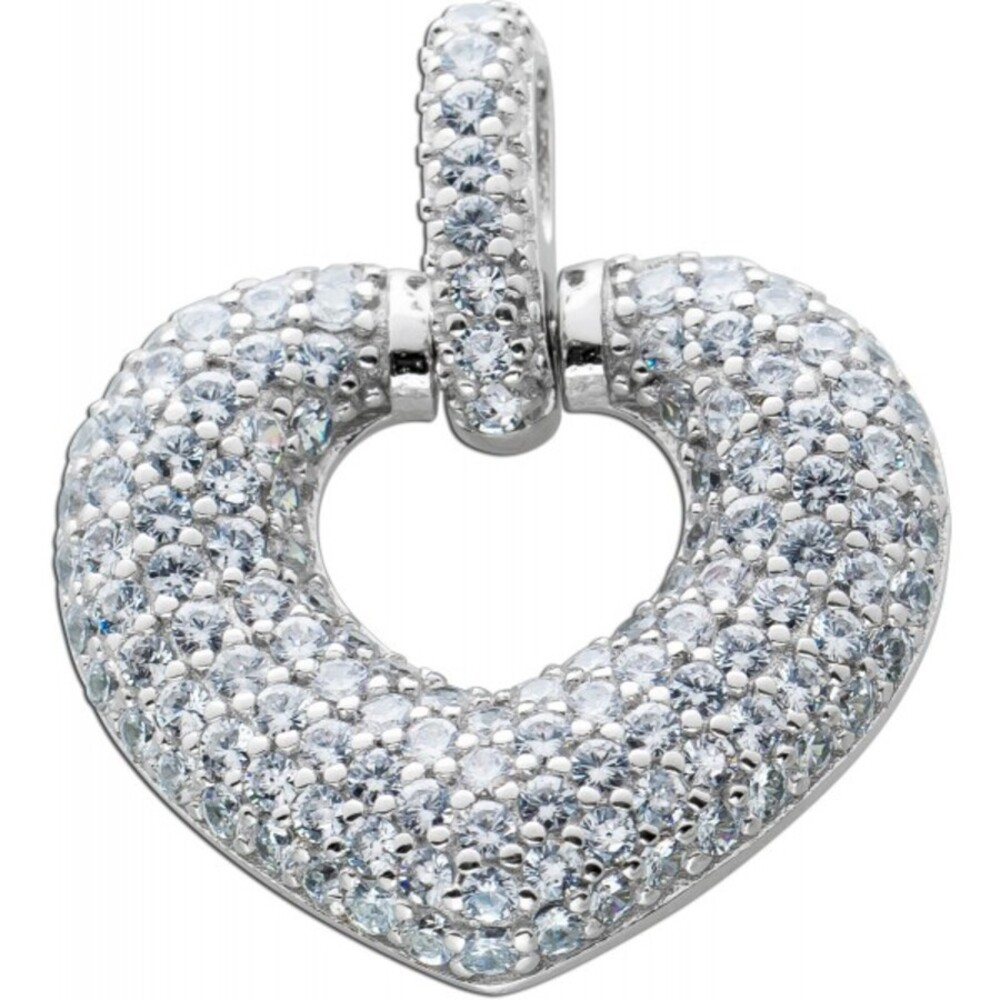 Herz Anhänger Silber 925 weißen Zirkonia Steinen Damenschmuck