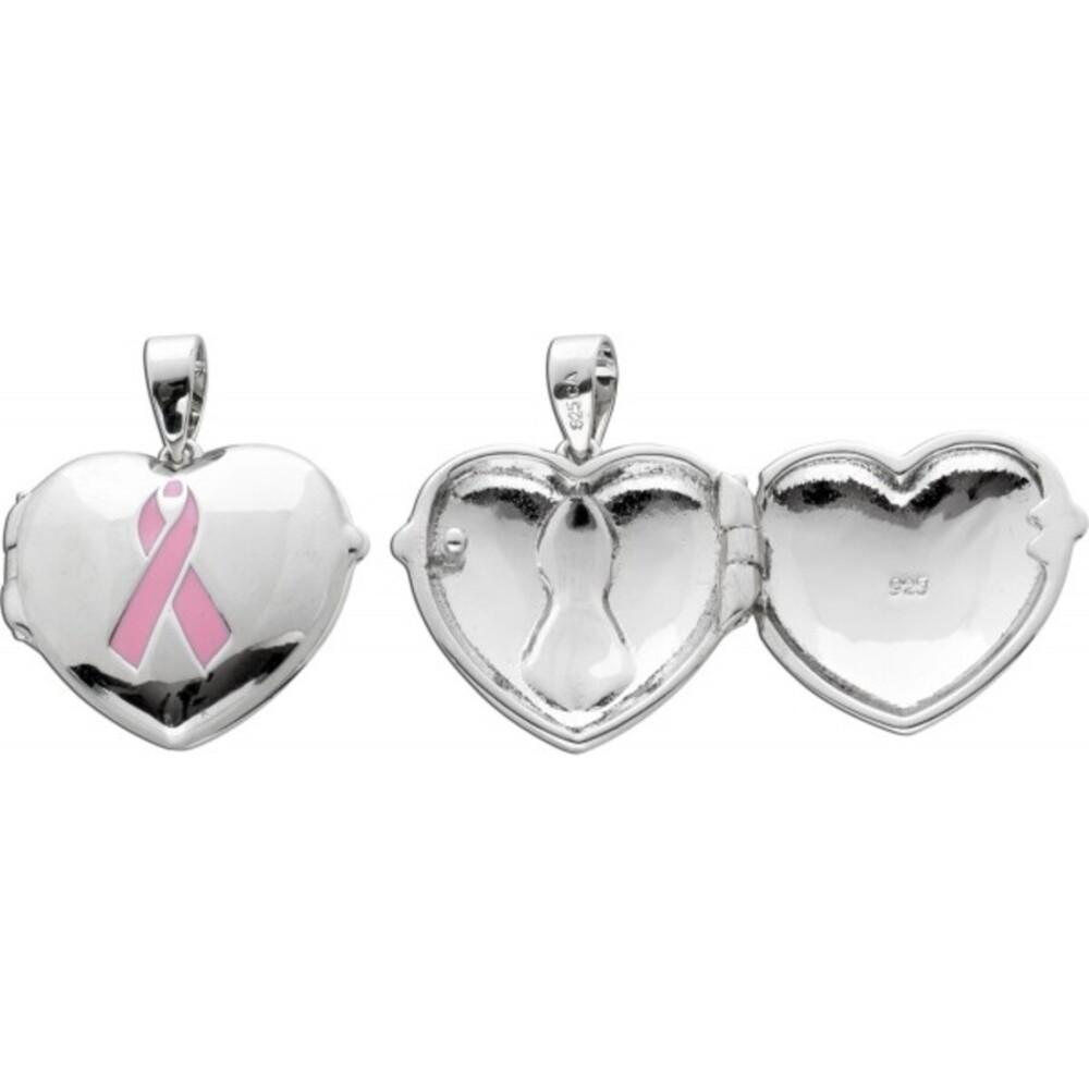Herz Medaillon Schleife rosa Silber 925 Anhänger öffenbar