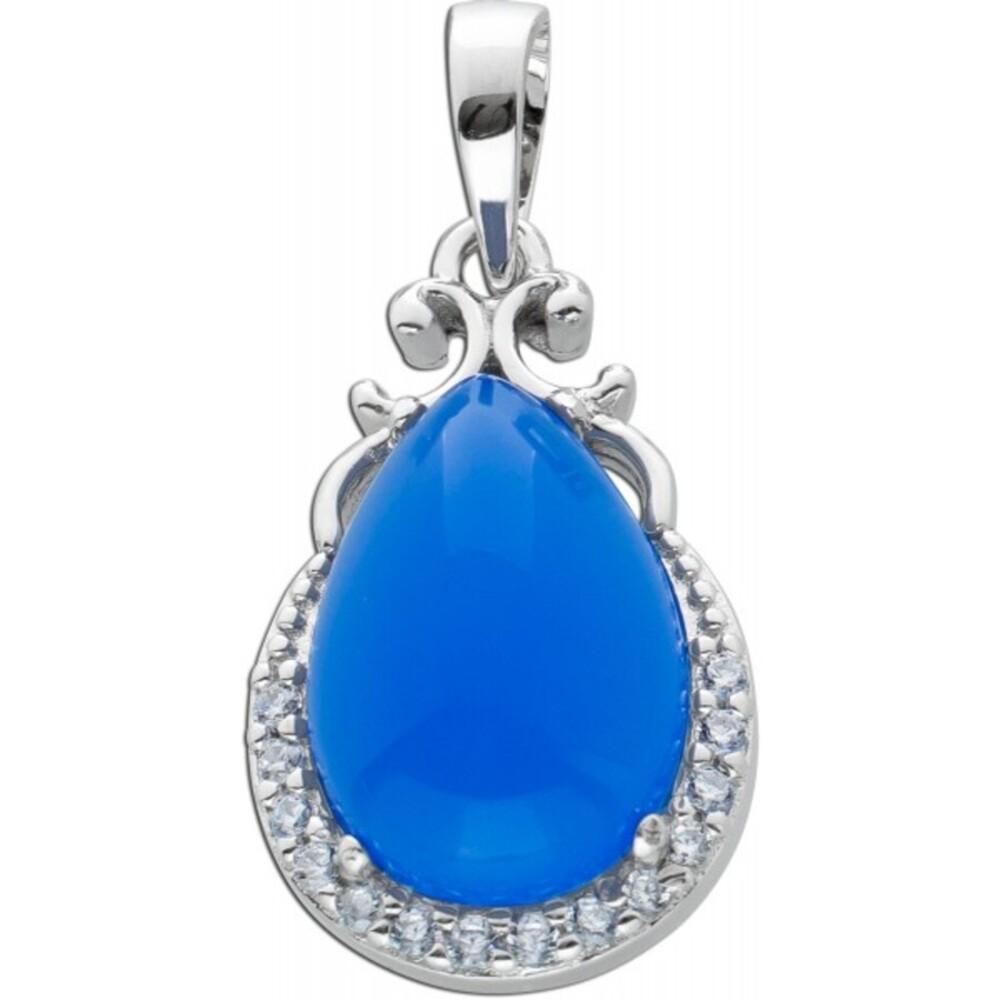 Tropfenförmiger Anhänger Zirkonia Steinen Silber 925 lila blaufarbenen Stein synthetisch