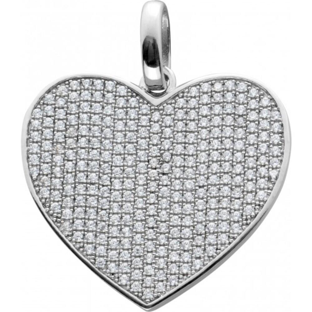 Herz Anhänger Silber 925 Klare Zirkonia
