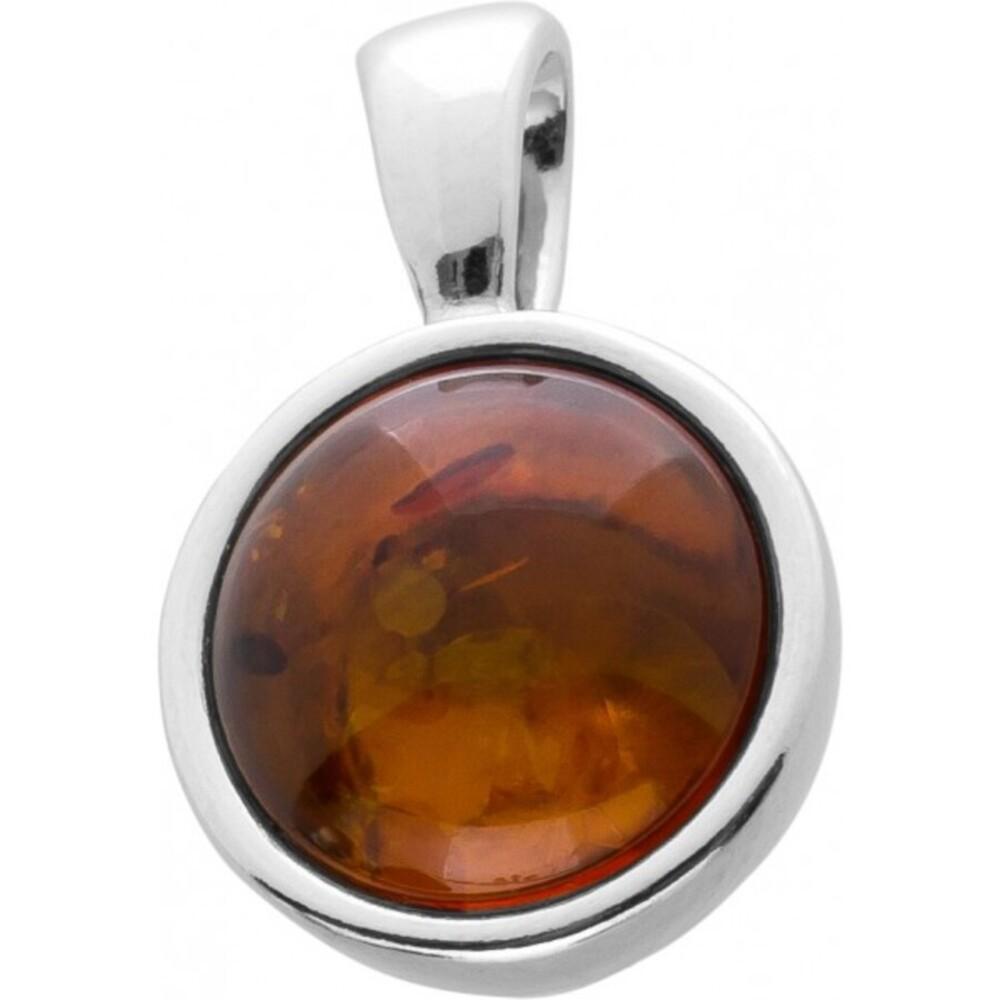 Bernstein Edelstein Anhänger Silber 925 cognacfarbener runder Edelstein Cabochon 18x12mm