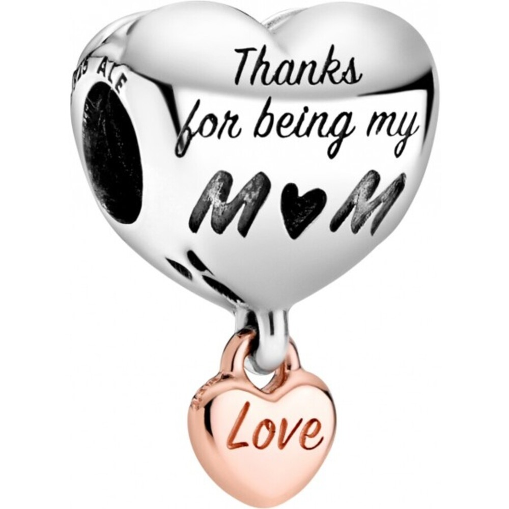 Pandora People Charm 788830C00 Love You Mum Heart Rose Silber 925