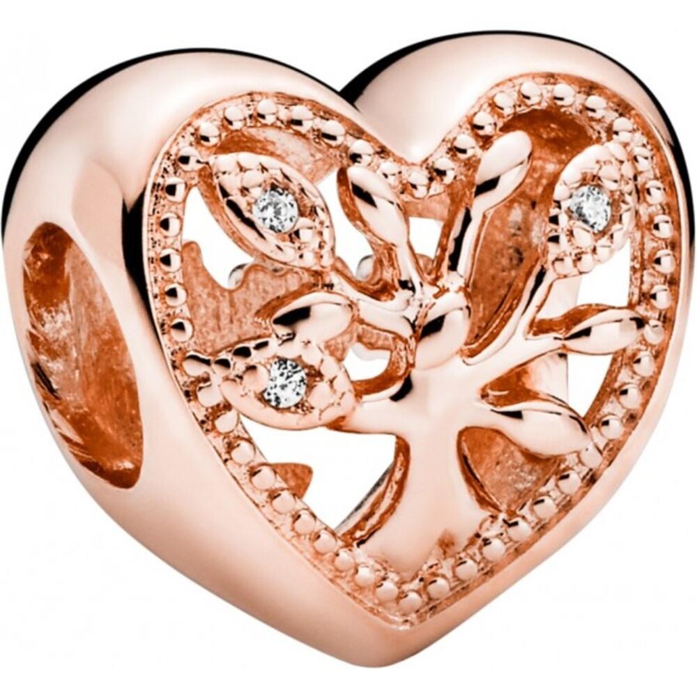 Pandora People Charm 788826C01 Openwork Family Tree Heart Rose Klare Zirkonia