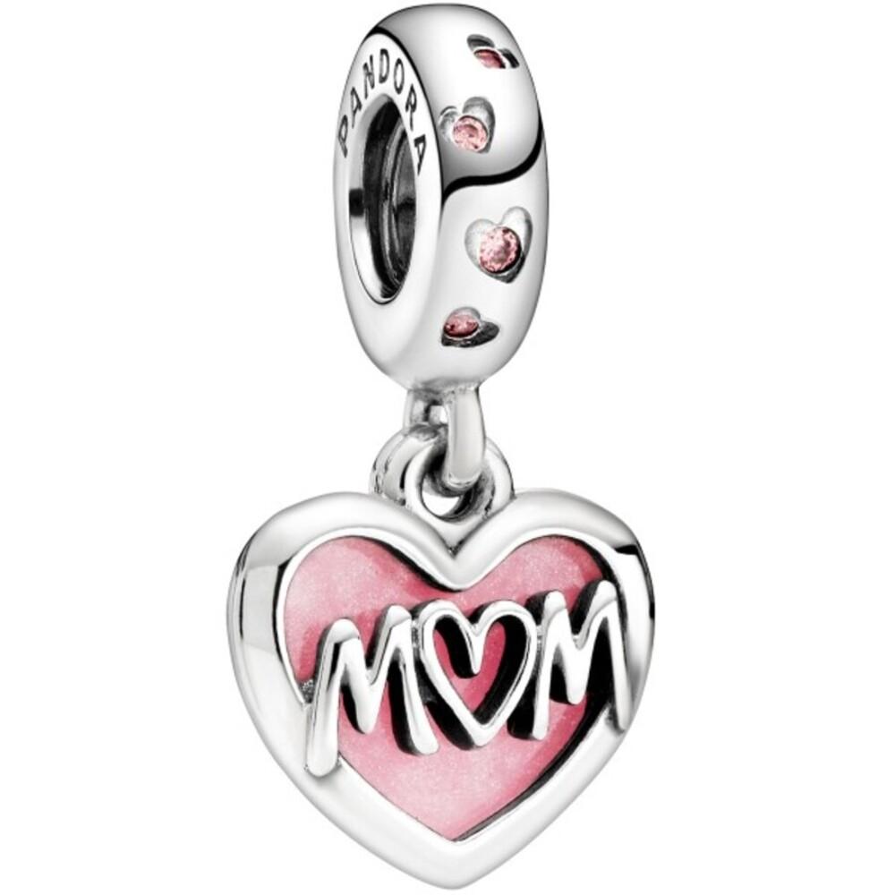 Pandora People Charm Anhänger 798887C01 Mum Script Heart Silber 925 Pink Zirkonia Pink Emaille
