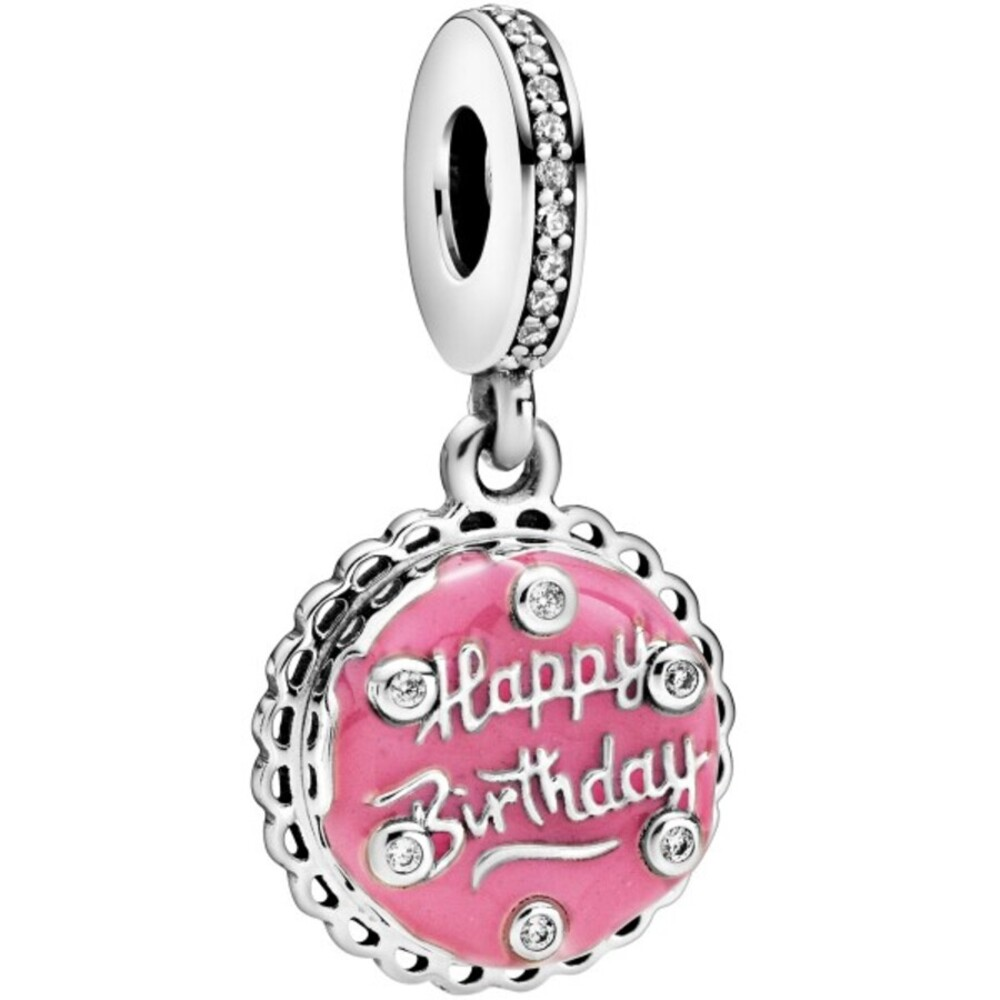 Pandora People Charm Anhänger 798888C01 Pink Birthday Cake Silber 925 Klare Zirkonia Pink Emaille