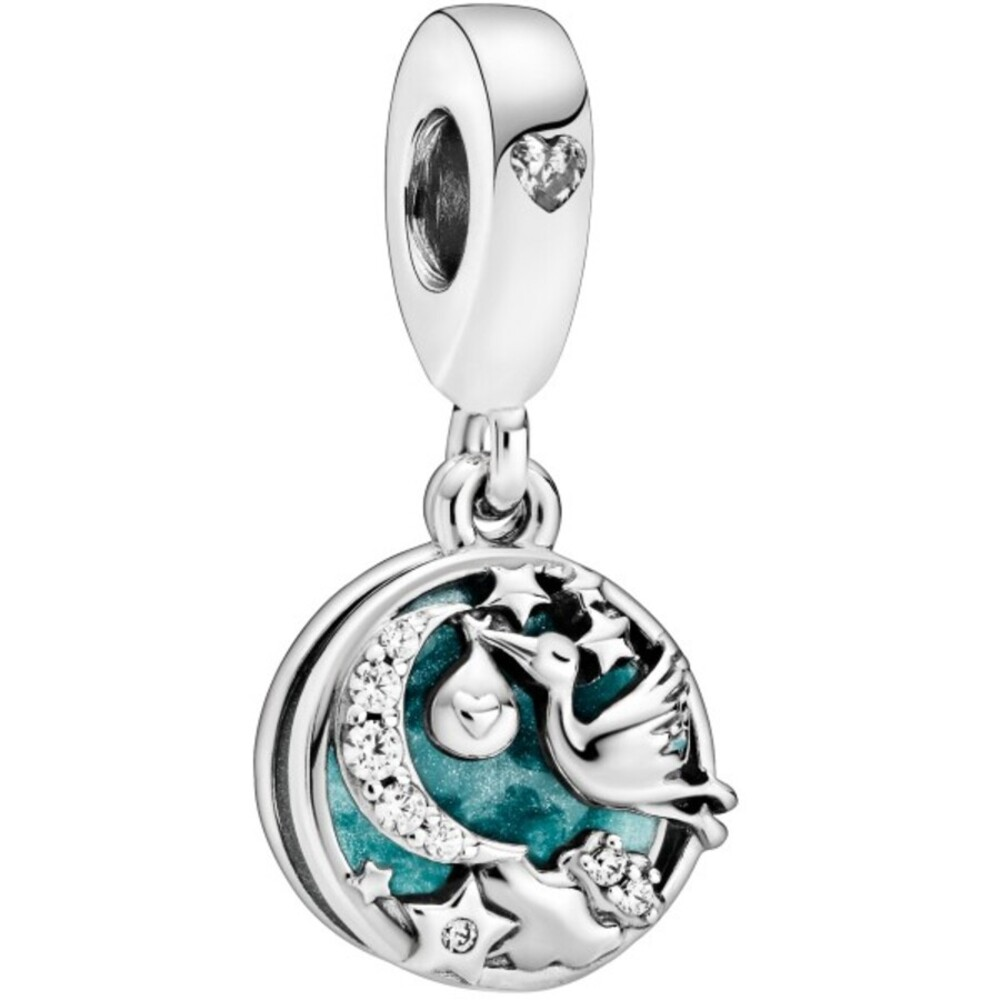 Pandora People Charm Anhänger 798895C01 Stork And Twinkling Stars Silber 925 Klare Zirkonia Blau Emaille