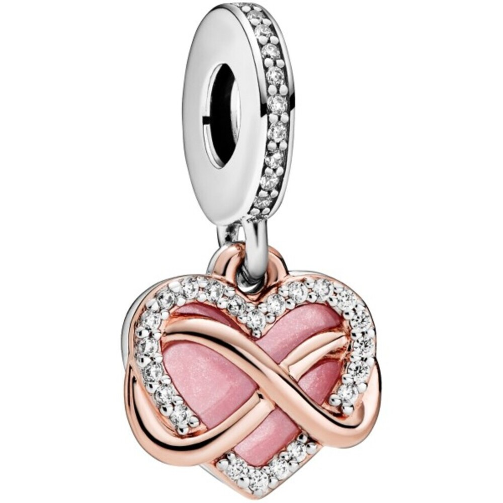 Pandora People Charm Anhänger 788878C01 Sparkling Infinity Heart Rose Silber 925 Klare Zirkonia Pink Emaille