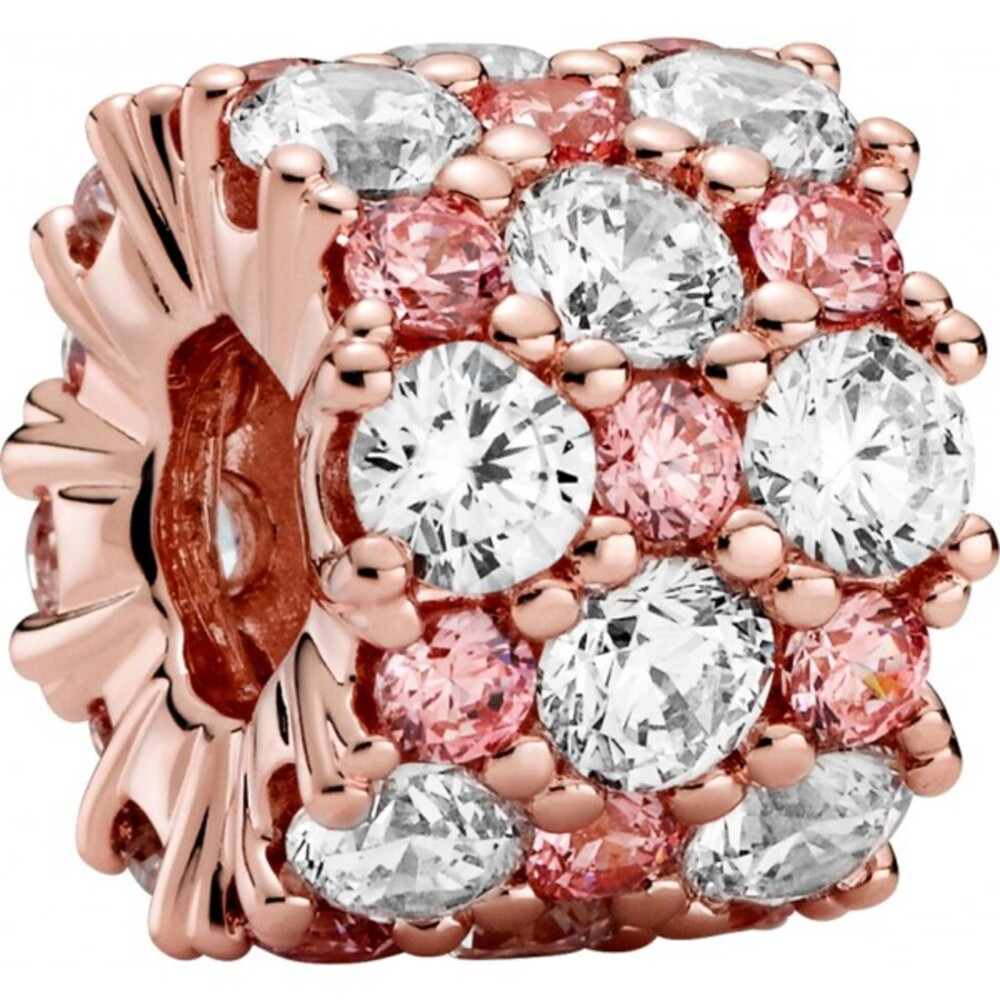 Pandora Timeless Charm 788487C01 Pink And Clear Sparkle Rose Klare Pink Zirkonia
