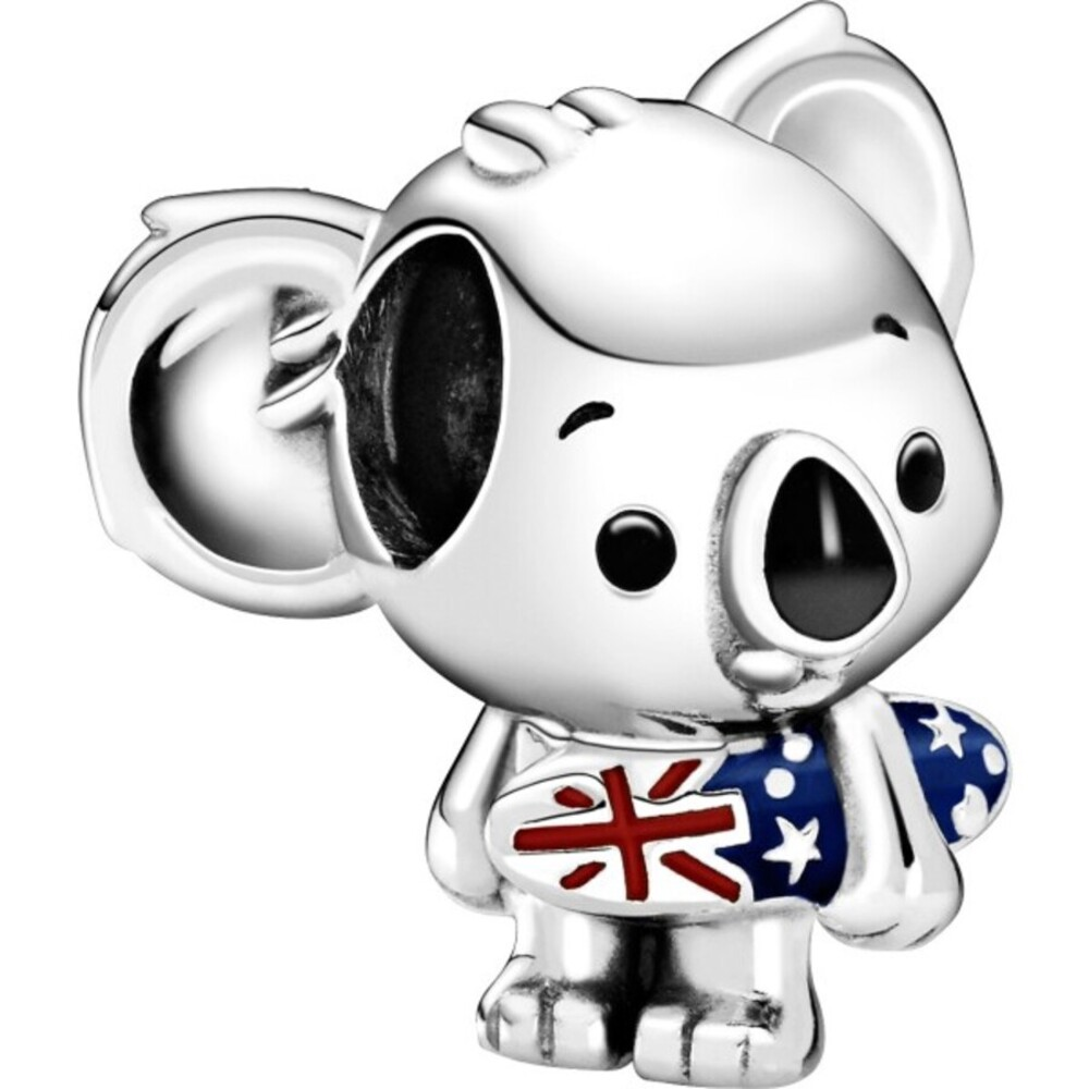 Pandora Places Charm 799031C01 Surfing Koala Silber 925 Mixed Emaille