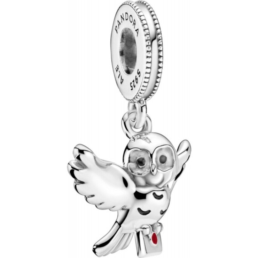 Pandora x Harry Potter Charm Anhänger 799123C01 Hedwig Silber 925 Schwarze Rote Emaille
