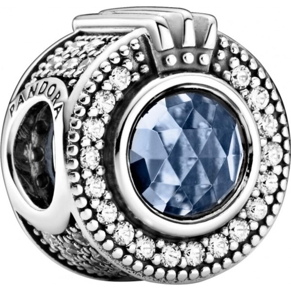 Pandora Charm 799058C01 Sparkling Blue Crown O Silber 925