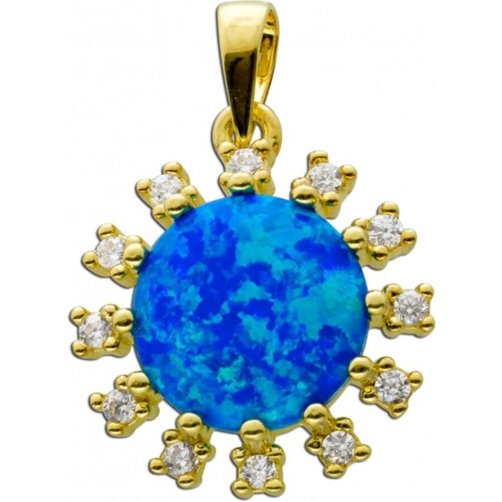 Anhänger Silber 925 vergoldet,1 synth. blauer Opal,12 Zirkonia, 22x16mm