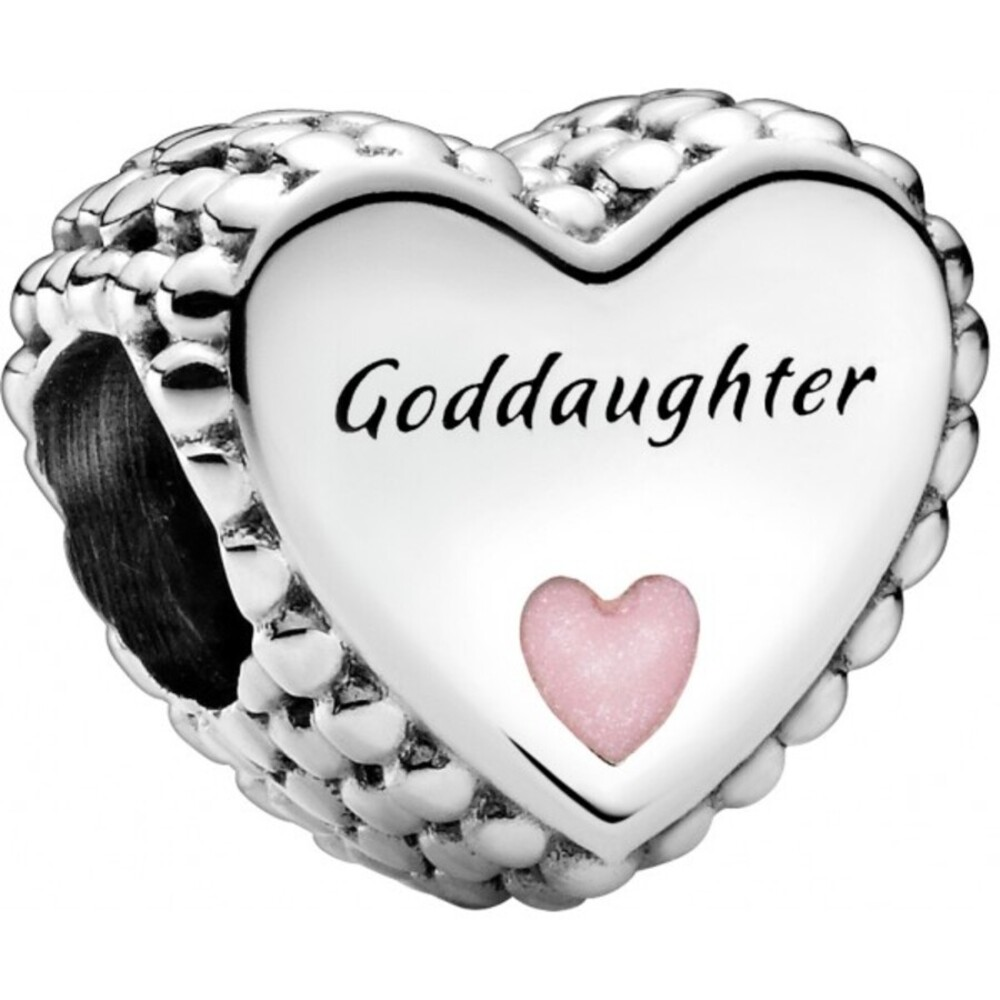 Pandora People Charm 799147C01 Goddaughter Heart Silber 925 Pinke Emaille