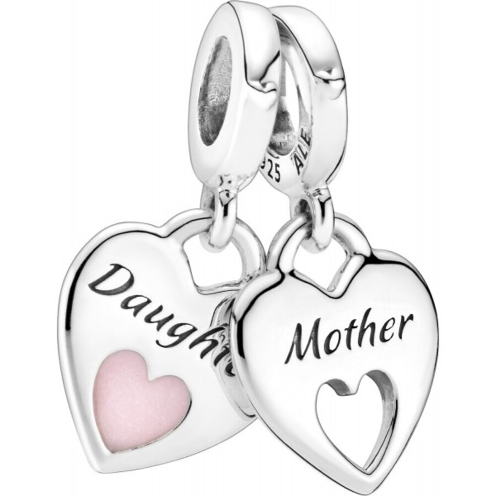 Pandora People Charm Anhänger 799187C01 Mother And Daughter Split Heart Silber 925 Pinke Emaille