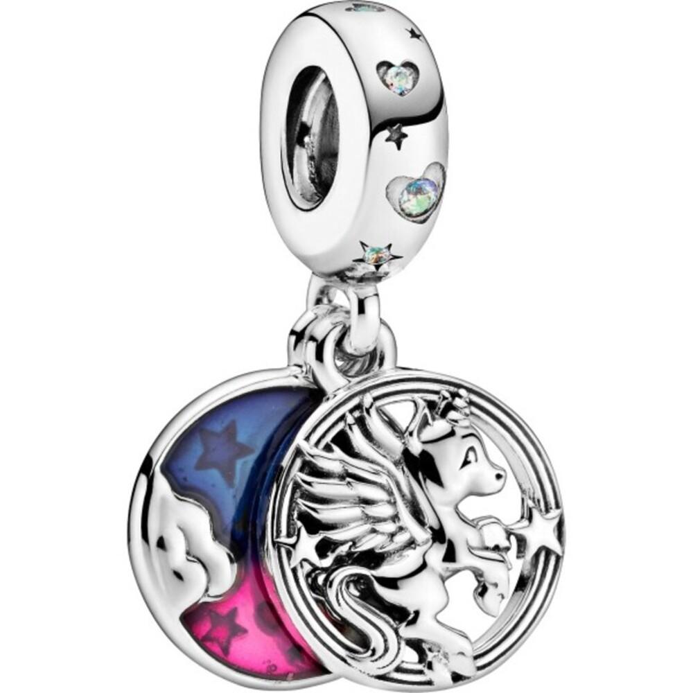 Pandora Passion Charm Anhänger 799145C01 Magical Unicorn Silber 925 Klare Zirkonia Pinke Blaue Emaille