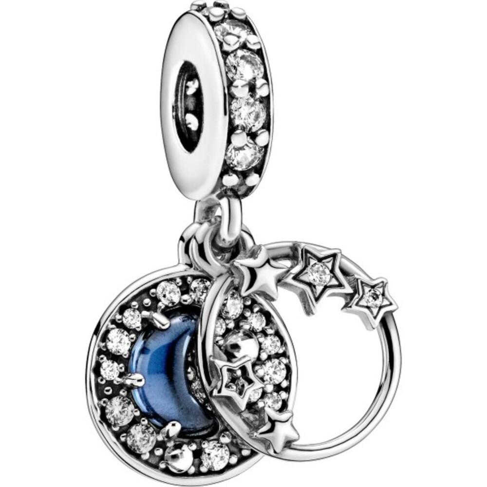 Pandora Charm Anhänger 799216C01 Blue night sky crescent moon stars Silber 925 clear cubic zirconia skylightblue crystal