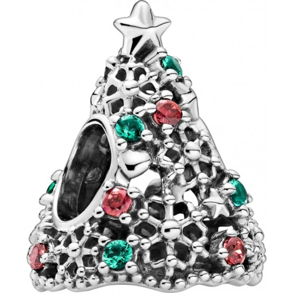 Pandora Charm 799226C01 Glitter Christmas Tree Silber925 red cubic zirconia aquagreen crystal