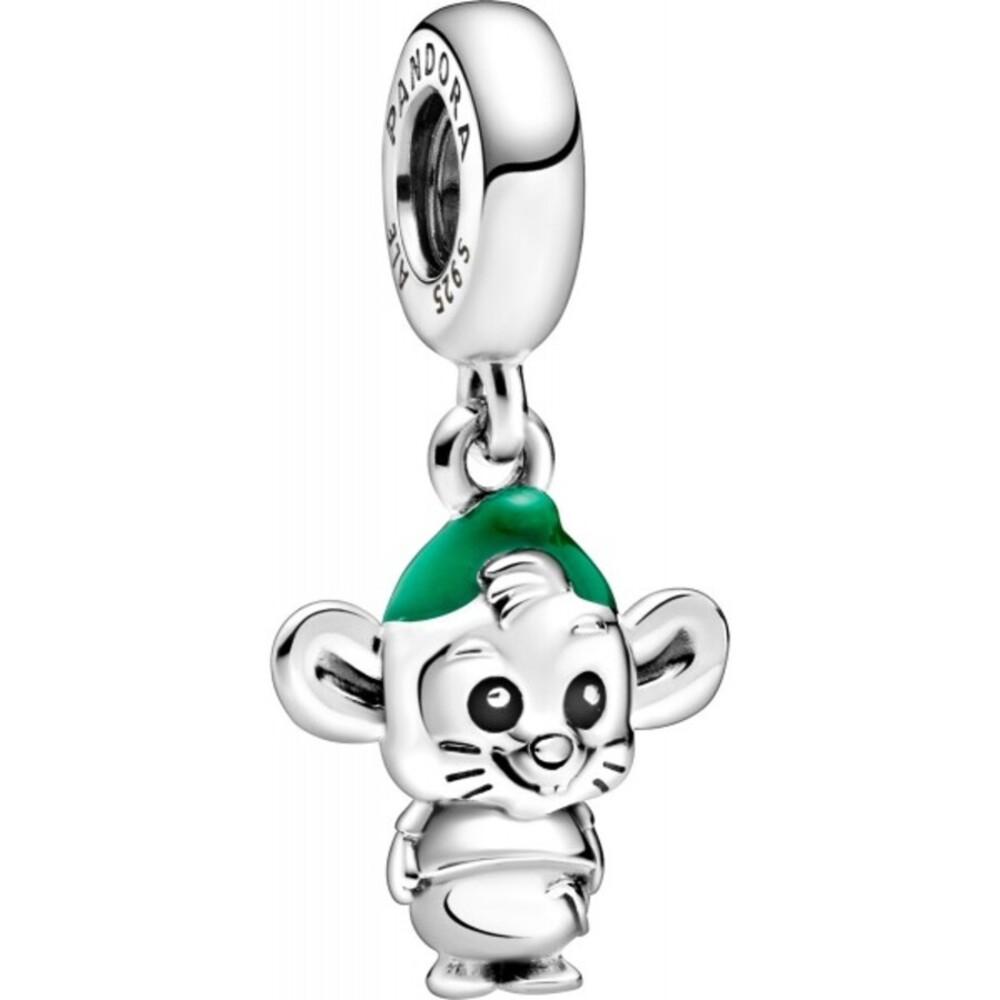 Pandora Disney Charm Anhänger 798849C01 Gus Mouse Silber 925 black green enamel