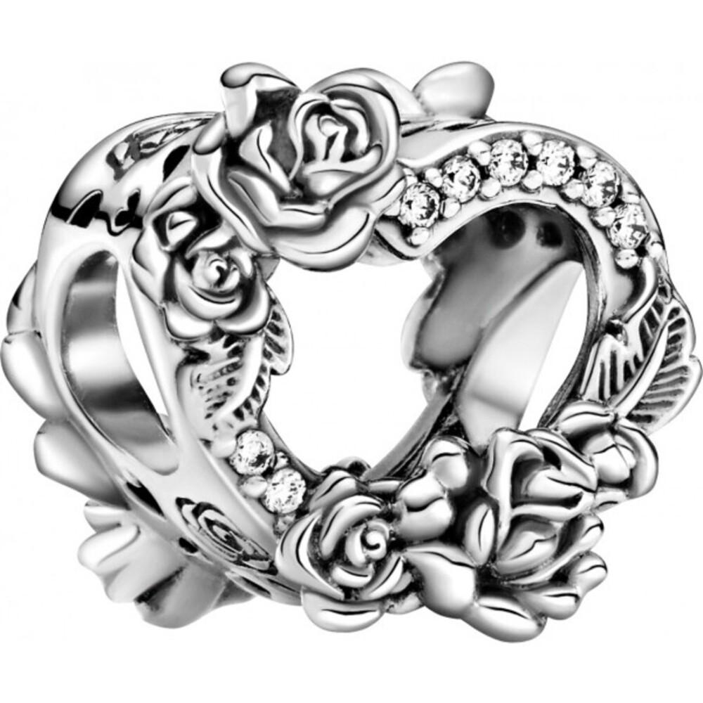 Pandora People Charm 799281C01 Open Heart & Rose Flowers Silber925 Klare Zirkonia