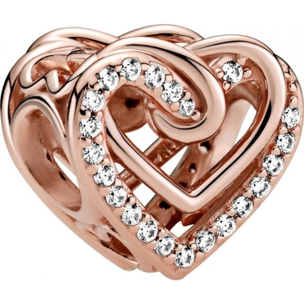 Pandora People Charm 789270C01 Sparkling Entwined Hearts Rose Silber 925 Klare Zirkonia