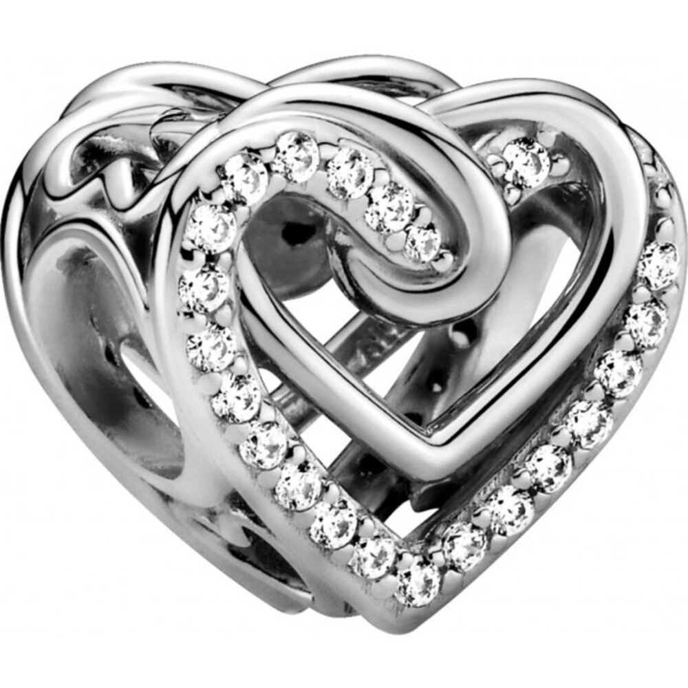Pandora People Charm 799270C01 Sparkling Entwined Hearts Silber 925 Klare Zirkonia