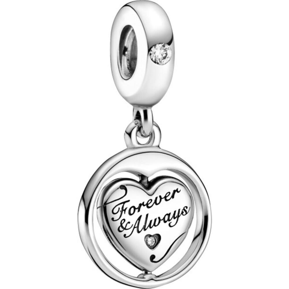 Pandora People Charm Anhänger 799266C01 Spinning Forever & Always Soulmate Silber 925 Klare Zirkonia