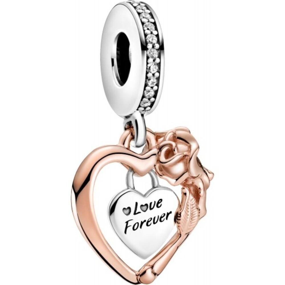 Pandora People Charm Anhänger 789290C01 Heart & Rose Flower Rose Silber 925 Klare Zirkonia