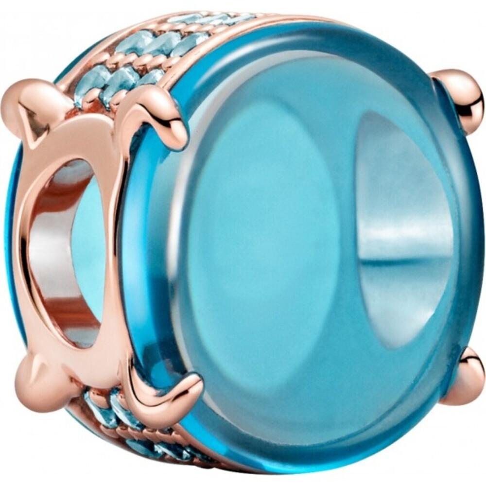 Pandora Colours Charm 789309C01 Blue Oval Cabochon Rose Blauer Kristall