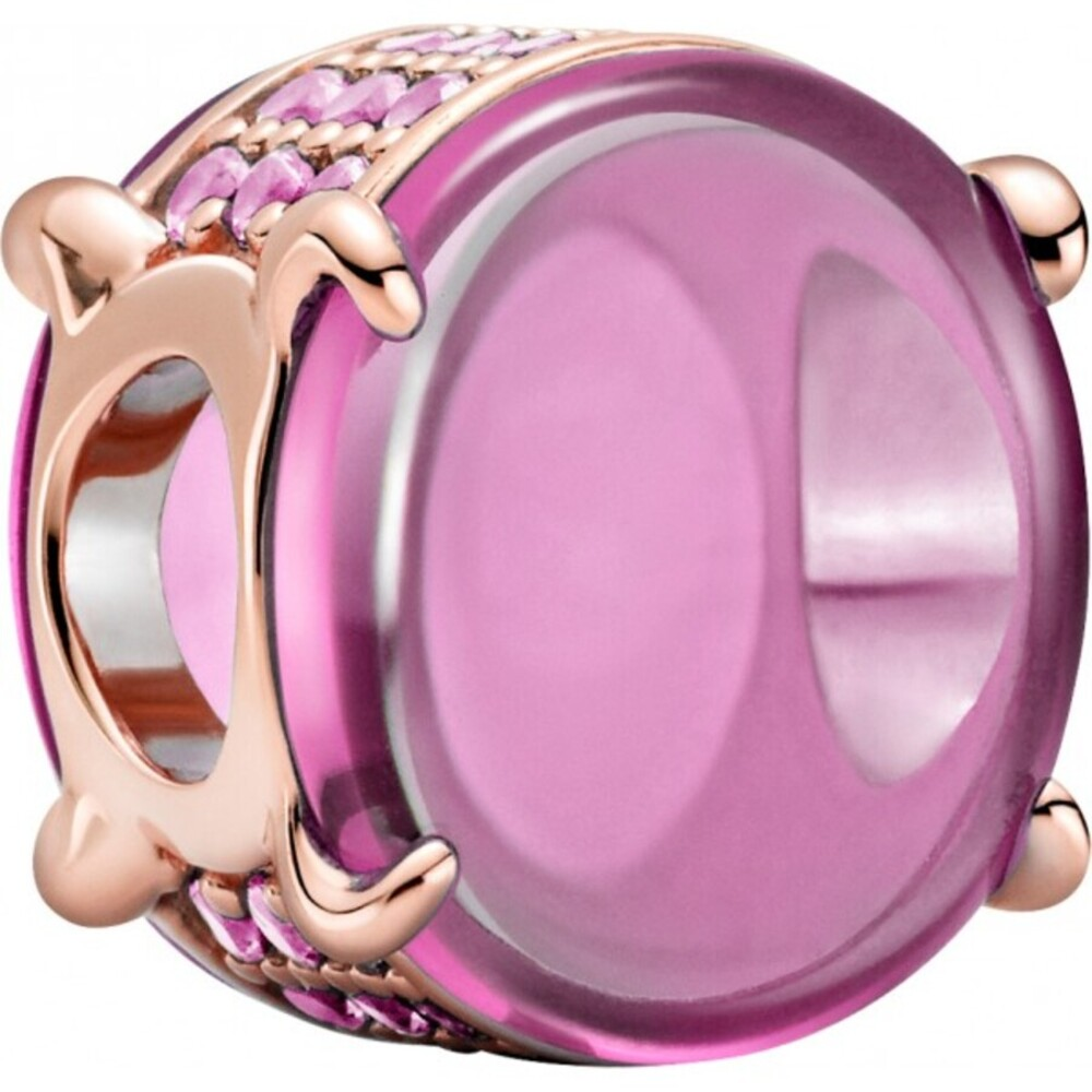 Pandora Colours Charm 789309C02 Pink Oval Cabochon Rose Synthetik Rosa Saphir
