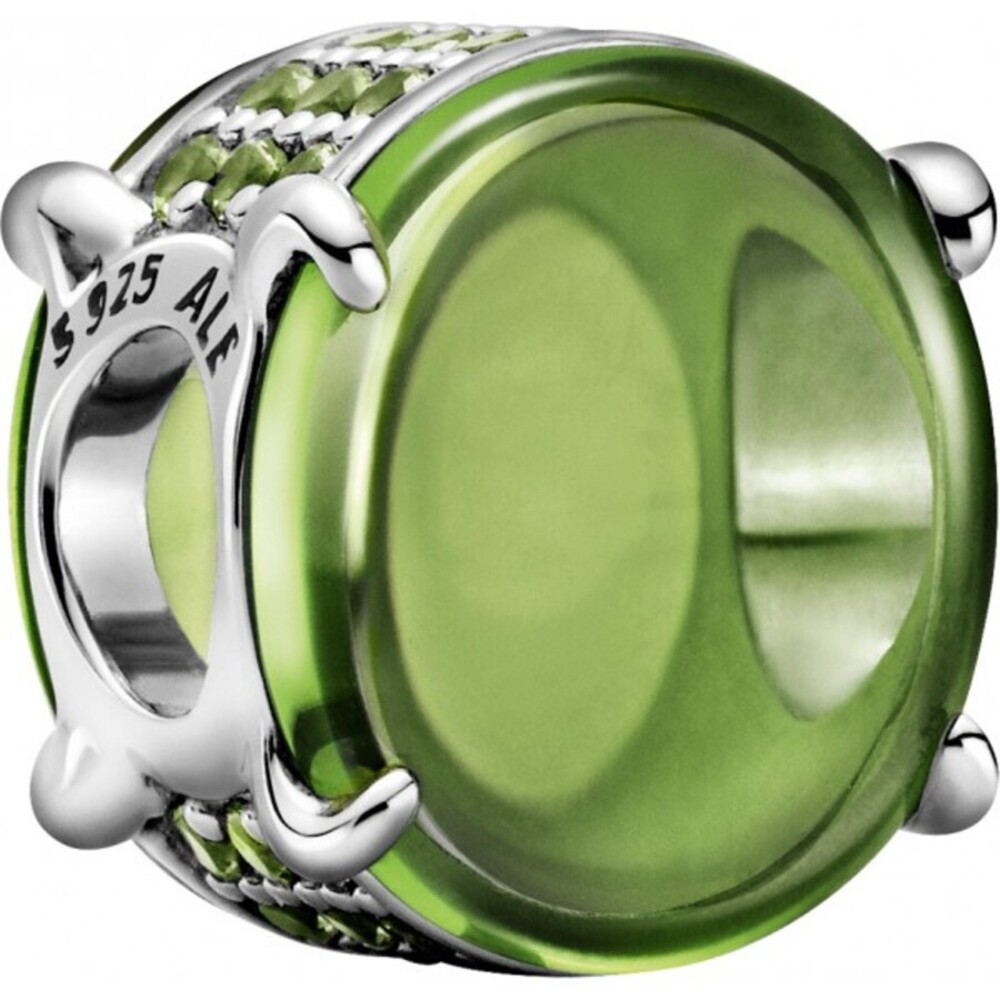 Pandora Colours Charm 799309C02 Green Oval Cabochon Sterling Silber 925 Synthetik Grüner Kristall