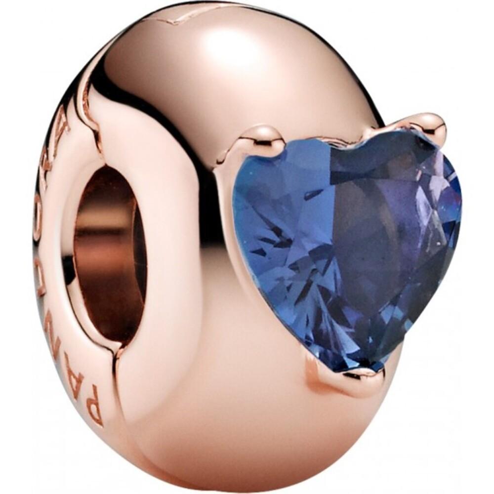 Pandora Colours Clip-Charm 789203C02 Blue Heart Solitaire Silicone Grip Rose Blau Kristall