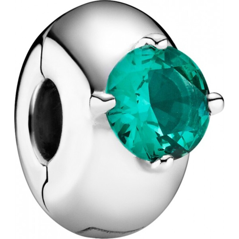 Pandora Colours Clip-Charm 799204C03 Green Round Solitaire Silicon Grip Sterling Silber 925 Grün Kristall