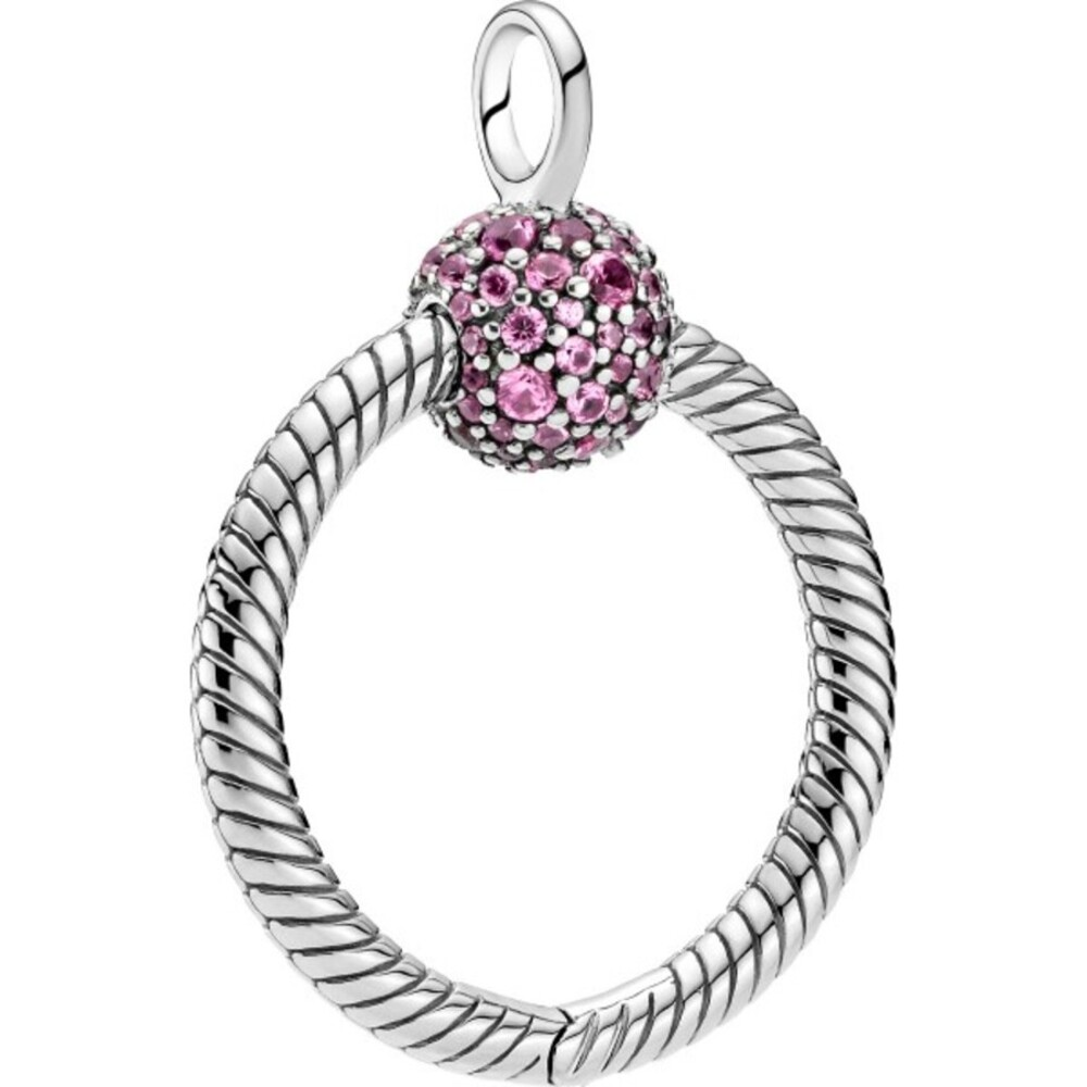 Pandora Colours Anhänger 399097C02 Pandora Moments Pave O Pendant Small Pink Silber 925 Klare Zirkonia