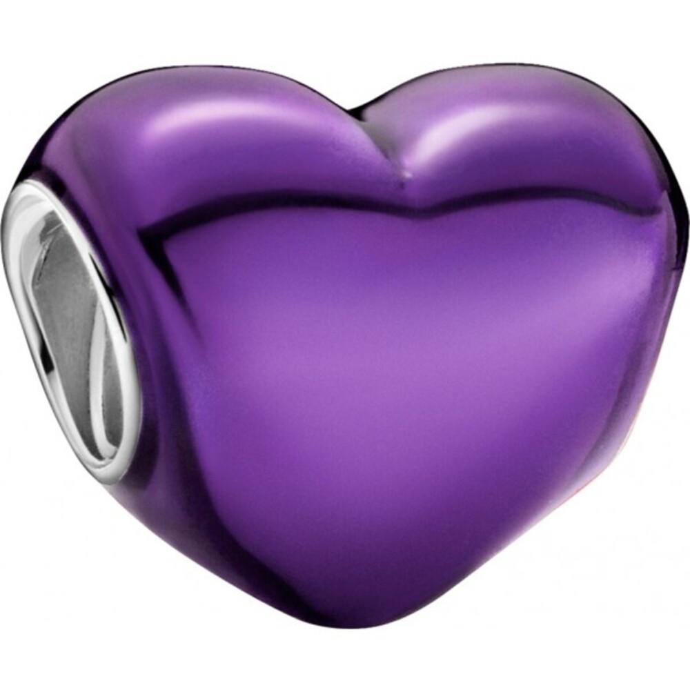 Pandora Colours Charm 799291C01 Metallic Purple Heart Red Enamel Sterling Silber 925