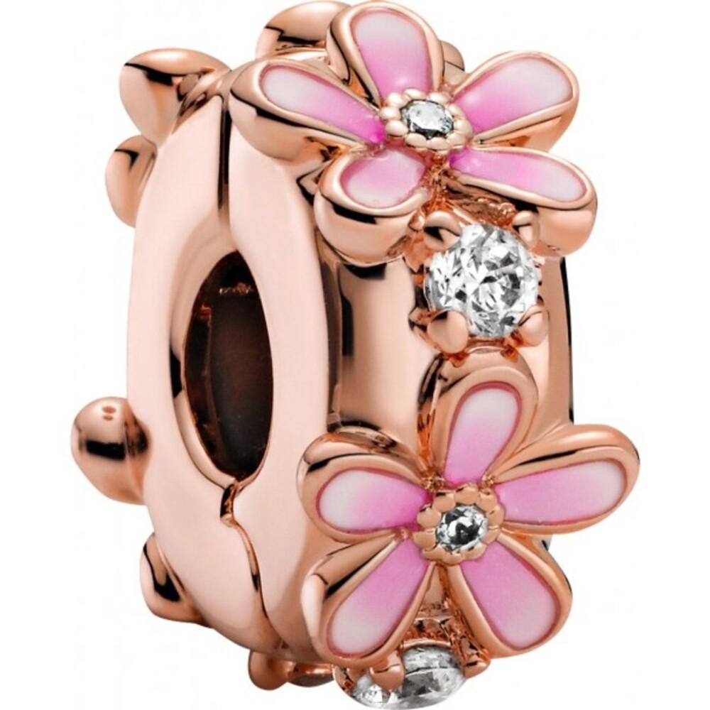 Pandora Garden Rose Clip Charm 788809C01 Pink Daisy Pandora clear cubic zirconia-1