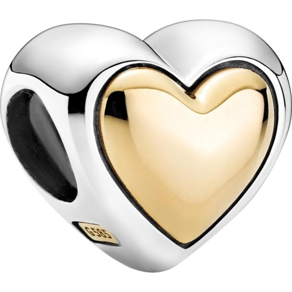 Pandora Moments Charm 799415C00 Domed Golden Heart Silber 925 Gold 14 Karat