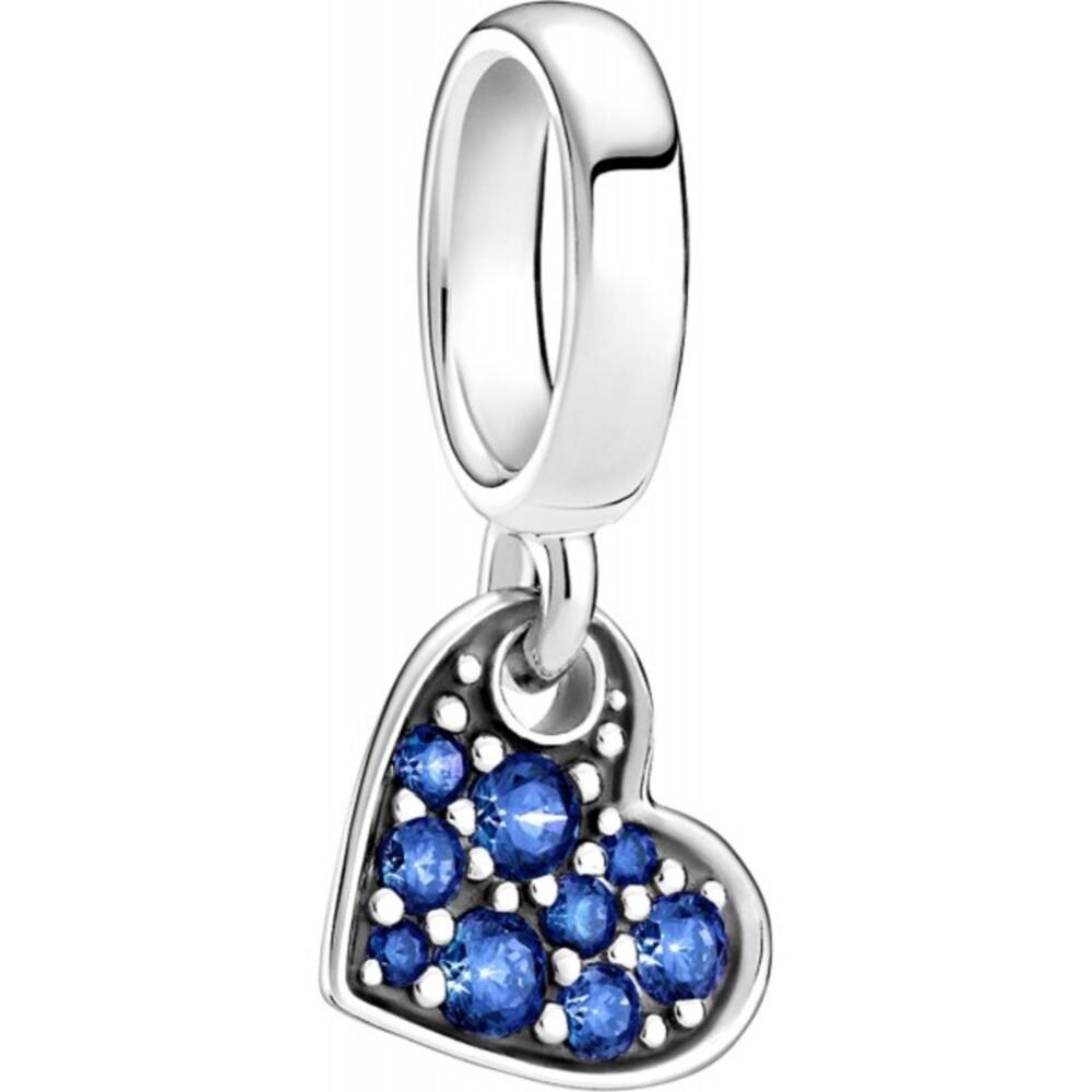 Pandora Moments Charm 799404C01 Stellar Blue Pave Tilted Heart Silber 925 Blaue Kristalle