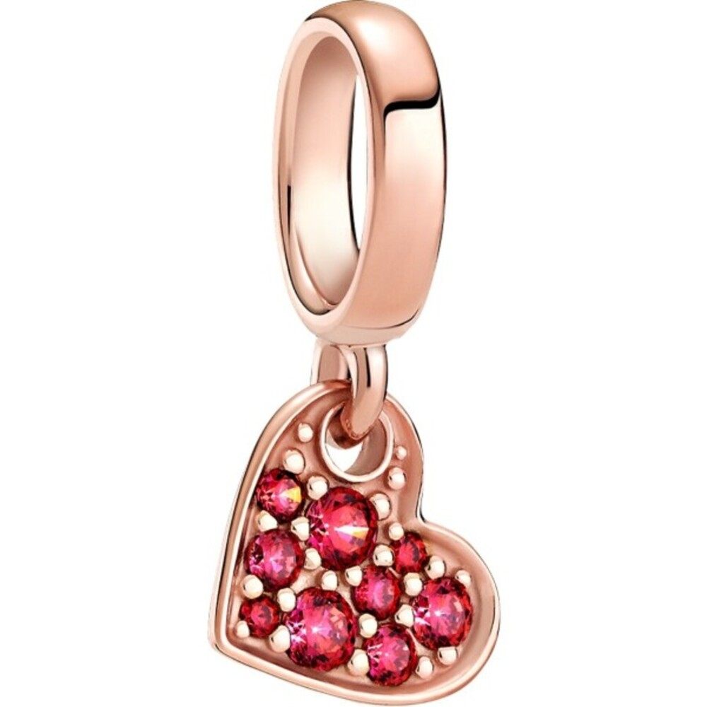 Pandora Moments Charm 789404C02 Red Pave Tilted Heart Rose Metall Rote Zirkonia